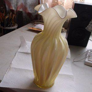 fenton layered glass swirl vase  yellow an white